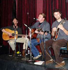 On stage with Lee Simpson, Zac Matthews, and Daniel Schuck at the Fillmore Auditorium, San Francisco, CA.